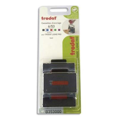 Blister de 3 cassettes Trodat 6/53/2 bleue/rouge pour appareils Trodat métal Line 5440, 5440/2 B353000 (photo)