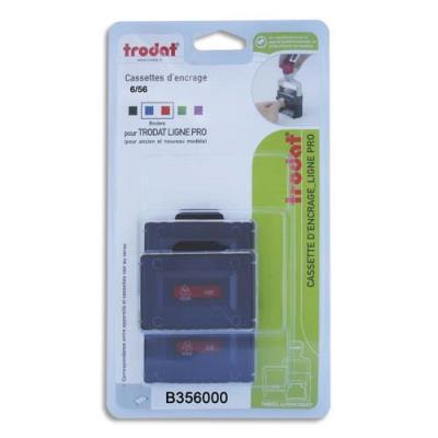 Blister 3 cassettes Trodat 6/56/2 bleue/rouge pour appareils Trodat métal Line 5460, 5460l, 5465 B356000 (photo)