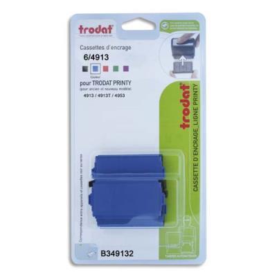 Blister de 3 cassettes Trodat 6/4913 bleu pour appareils Trodat Printy 4913, 4913t, 4953 B349132 (photo)