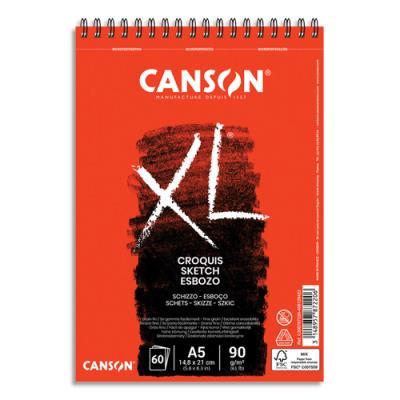 Album de 60 feuilles de papier dessin Canson Croquis XL - reliure spirale - 90g - format A5 (photo)