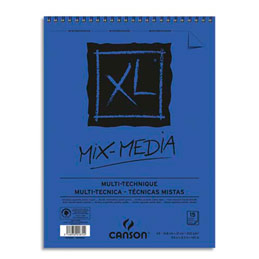 Album de 15 feuilles de papier dessin Canson Mix Media XL - reliure spirale - 300 g - format A5 (photo)