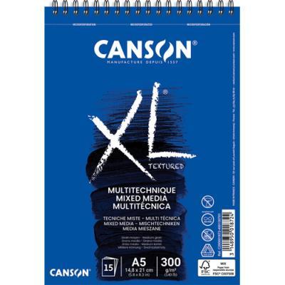 Album de 15 feuilles de papier dessin Canson Mix Media XL - reliure spirale - 300 g - format A5 (photo)