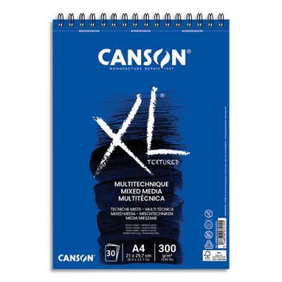 Album de 30 feuilles de papier dessin Canson Mix Media XL - reliure spirale - 300 g - format A4 (photo)