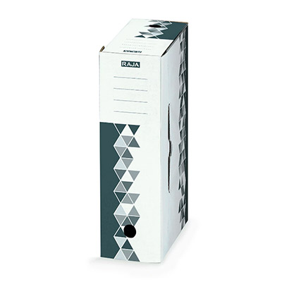 Boîte archives premium Raja - dos 8 cm - gris