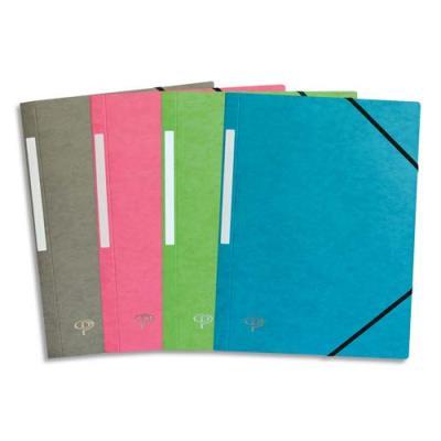 Lot de 10 chemises 1er prix 3 rabats et élastique - carte 5/10e - coloris assortis pastel