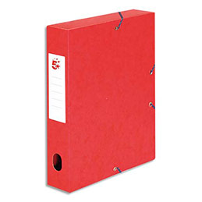 Boîte de classement 5 Etoiles - dos de 6 cm - carte lustrée - rouge (photo)