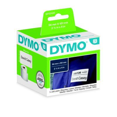 Etiquette expédition / badge papier 54 x 101 mm Dymo S0722430 blanche - Rouleau de 220