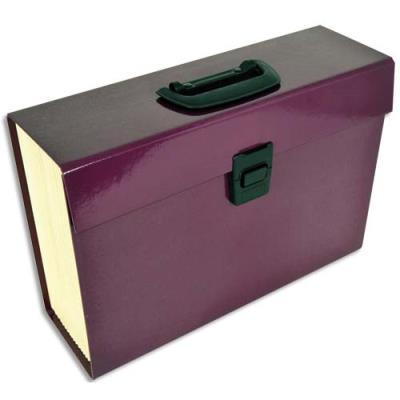 Trieur Premium Pierre henry - en carton renforcé - 20 compartiments - aubergine