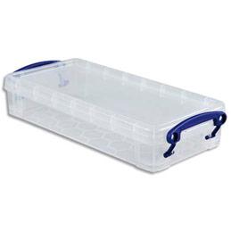 Boîte de rangement en plastique transparent avec couvercle - 0,55 litre - dimensions L22 x H4 x P10 cm