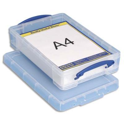 Boîte de rangement en plastique transparent avec couvercle - 4 litres - dimensions : L39,5 x H8,8 x P25,5 cm