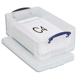 Boîte de rangement en plastique transparent avec couvercle - 12 litres - dimensions : L46,5 x H15 x P27 cm