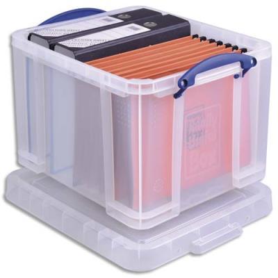 Boîte de rangement avec couvercle - 35 L - L48 x H31 x P39 cm - transparent (photo)