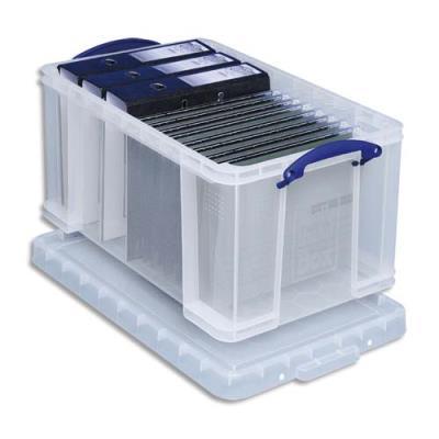 Boîte de rangement avec couvercle - 48 L - L60 x H31 x P40 cm - transparent (photo)