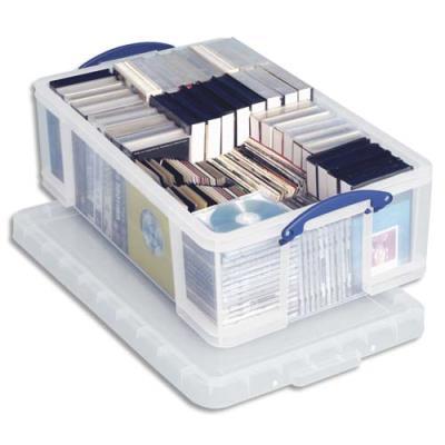 Boîte de rangement en plastique transparent avec couvercle - 24 litres - dimensions : L46,5 x H29 x P27 cm