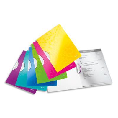 Chemise de présentation à clip Leitz Colorclip WOW en polypro - 21 x 29,7 cm - coloris assortis (photo)