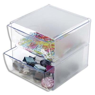 Cube de rangement 2 tiroirs en polystyrène - l 15,2 x h 15,2 x p 18,2 cm - transparent (photo)