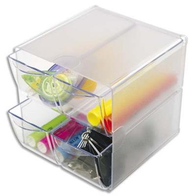 Cube de rangement 4 tiroirs en polystyrène - l 15,2 x h 15,2 x p 18,2 cm - transparent (photo)