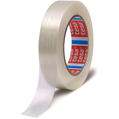Adhésif armé monofilament en fibres de verres laminées Tesa - 105 microns - H25 mm x L50 m - incolore (photo)