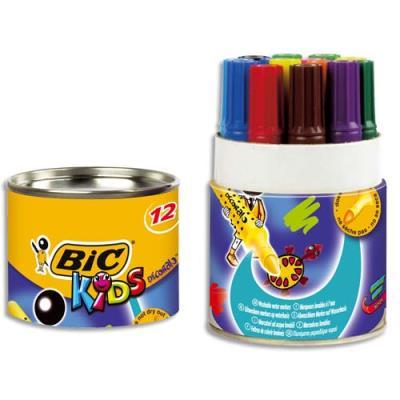 Pot de 12 marqueurs de coloriage Bic Decoralo - pointe XXL - couleurs assorties
