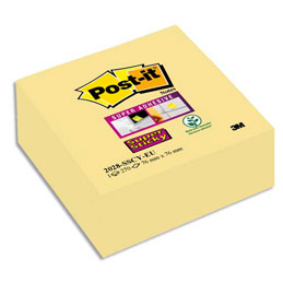 Bloc cube Post'it Supersticky - 76 x 76 mm -  270 feuilles - jaune (photo)
