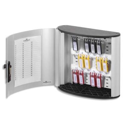 Armoire à clés Durable Key Box - capacité 18 clés - Dimensions : L31,5 x H29,5 x P13 cm - coloris argent (photo)