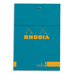 Bloc de bureau Rhodia ColoR n°12 - 8,5x12 cm - 140 pages - 90g - ligné - turquoise (photo)