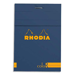 Bloc de bureau Rhodia ColoR n°12 - 8,5x12 cm - 140 pages - 90g - ligné - saphir (photo)