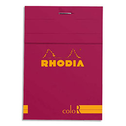 Bloc de bureau Rhodia ColoR n°12 - 8,5x12 cm - 140 pages - 90g - ligné - framboise (photo)