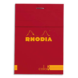 Bloc de bureau Rhodia ColoR n°12 - 8,5x12 cm - 140 pages - 90g - ligné - coquelicot (photo)