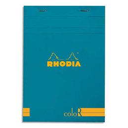 Bloc de bureau Rhodia ColoR n°16 - 14,8x21 cm - 140 pages - 90g - ligné - turquoise (photo)