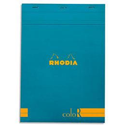 Bloc de bureau Rhodia ColoR n°18 - 21x29,7 cm - 140 pages - 90g - ligné - turquoise (photo)