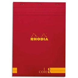Bloc de bureau Rhodia ColoR n°18 - 21x29,7 cm - 140 pages - 90g - ligné - coquelicot (photo)