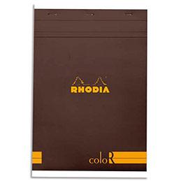 Bloc de bureau Rhodia ColoR n°18 - 21x29,7 cm - 140 pages - 90g - ligné - chocolat (photo)