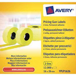 Boite de 10 rouleaux de 1200 étiquettes jaunes sinusoïdales permanentes Avery YPLP1626 - 26x16mm (photo)