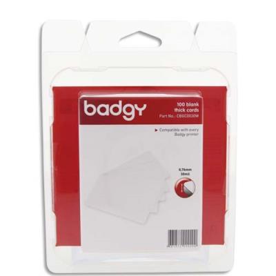 Lot de 100 cartes PVC épaisses Badgy - 30mil - 0,76mm (photo)