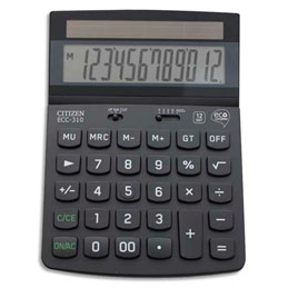 Calculatrice de bureau Citizen ECC 310 ECO - 12 chiffres - certifiée Blue Angel 70% recyclé (photo)