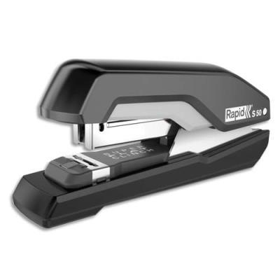 Agrafeuse de table Rapid S50 SuperFlatClinch - agrafes 24/6 et 26/6 - 30 ou 60 feuilles - noir