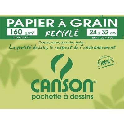 Pochette de 10 feuilles à dessin Canson - 100% recyclé - 160 g - Format 24 x 32 cm - Réf : 777-100 (photo)