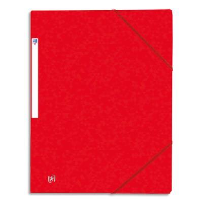 Chemise à 3 rabats élastiques - 21 x 29,7 cm - carte lustrée - rouge