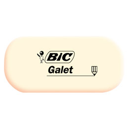 Gomme Galet de Bic - blanche - forme longue (photo)