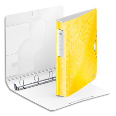 Classeur 4 anneaux diam.30 mm Leitz WOW SoftClick en polypropylène - dos 50mm - coloris orange (photo)