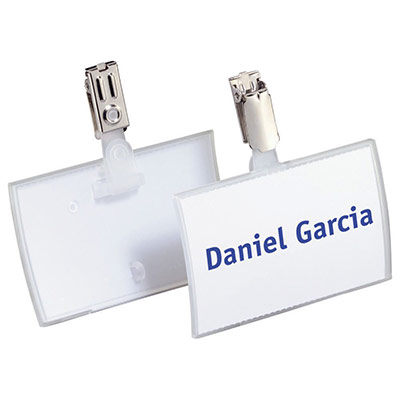 Badge fermé à clip Durable Clickfold - format 5,4 x 9 cm - boite de 25 (photo)