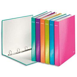 Classeur 4 anneaux A4+ - dos 4 cm - en carton pelliculé - coloris assortis (photo)