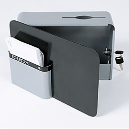 Boîte à idées Alba IDBox - fermeture à clé - compartiment fiches - gris (photo)