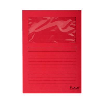 Chemises à fenêtre Forever 80 feuilles A4 130 g/m² carton comprimé recyclé rouge lot de 100 - paquet 100 unités