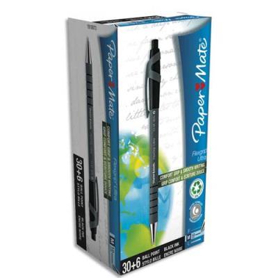 Pack économique de 36 stylos bille Papermate Flexgrip ultra noirs (photo)