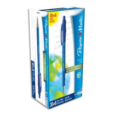 Pack économique de 36 stylos bille Papermate Flexgrip ultra bleus (photo)