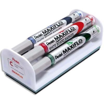Kit brosse magnétique +  4 marqueurs pour tableau blanc - pointe conique moyenne - coloris assortis (photo)