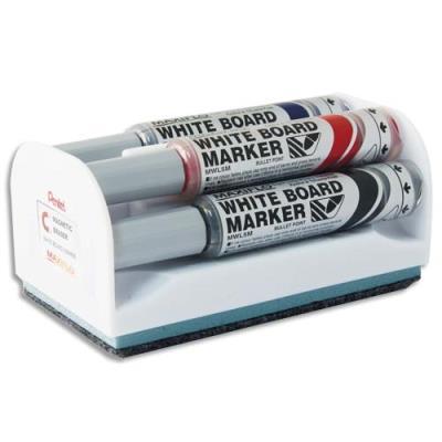 Kit brosse magnétique +  4 marqueurs pour tableau blanc - pointe conique large - coloris assortis (photo)