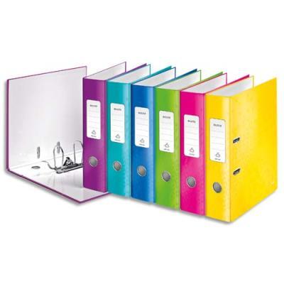 Classeur à levier 180° Leitz WOW - dos 8 cm - carton pelliculé - coloris assortis